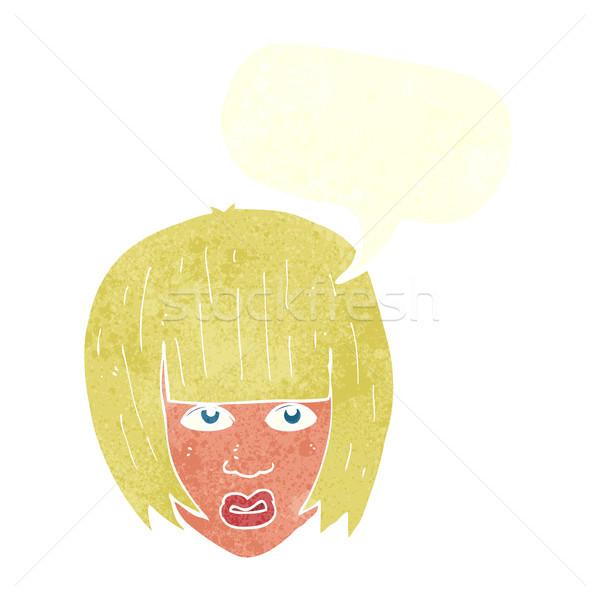 Desenho animado irritado menina grande cabelo balão de fala Foto stock © lineartestpilot