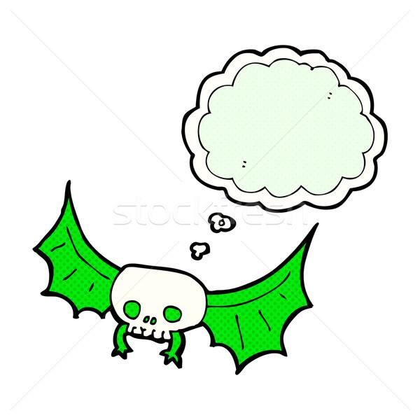 Cartoon cranio bat bolla di pensiero mano Foto d'archivio © lineartestpilot