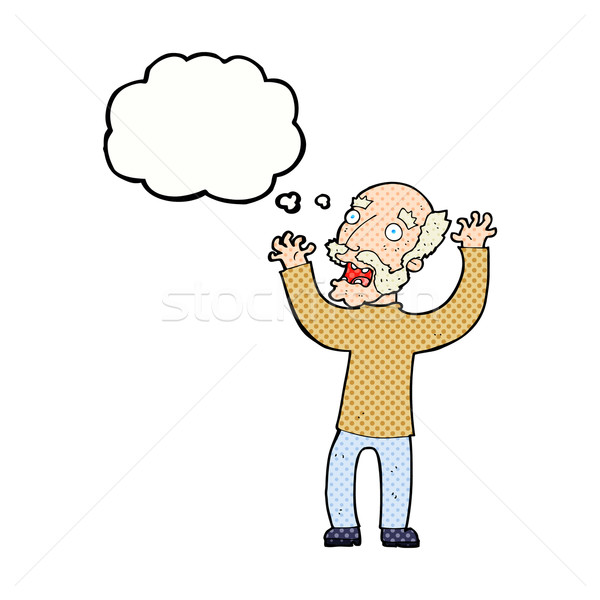 cartoon terrified old man with thought bubble Stock photo © lineartestpilot