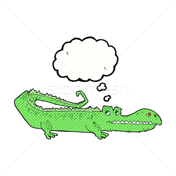 cartoon crocodile with thought bubble Stock photo © lineartestpilot