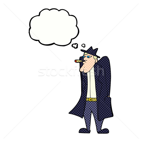 cartoon man in hat and trench coat with thought bubble Stock photo © lineartestpilot