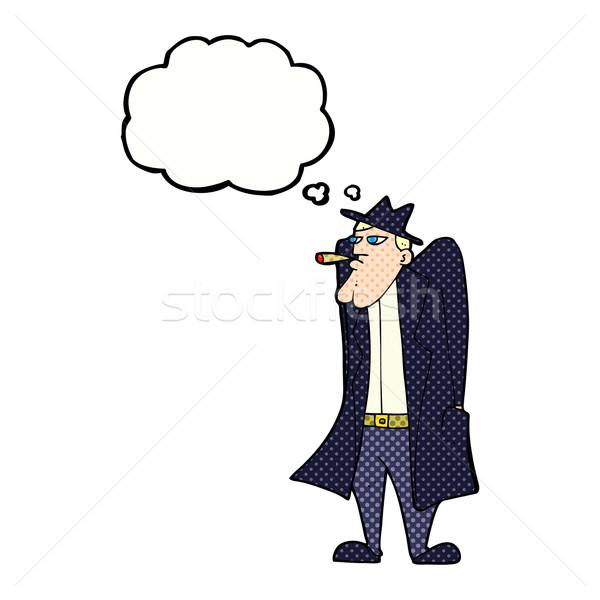Cartoon человека Hat окоп пальто мысли пузырь Сток-фото © lineartestpilot