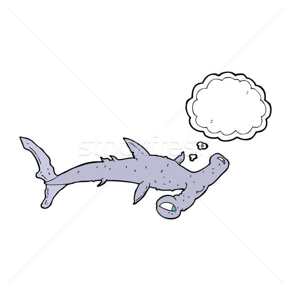 Desenho animado tubarão balão de pensamento mão projeto cabeça Foto stock © lineartestpilot