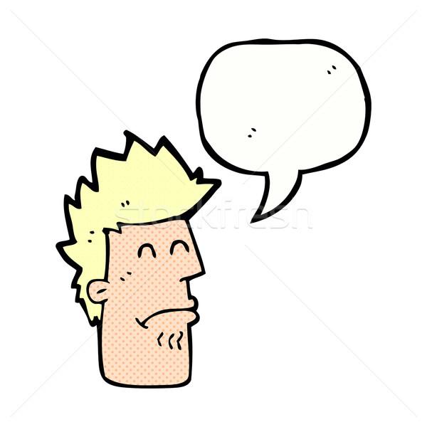 Cartoon man gevoel ziek tekstballon hand Stockfoto © lineartestpilot