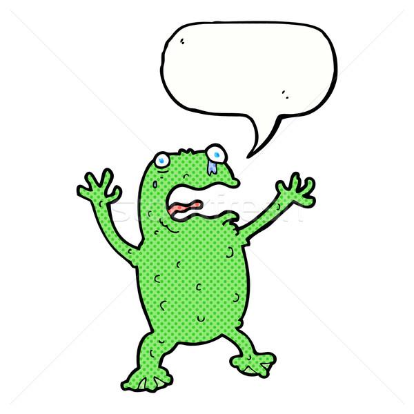 Cartoon bange kikker tekstballon hand ontwerp Stockfoto © lineartestpilot