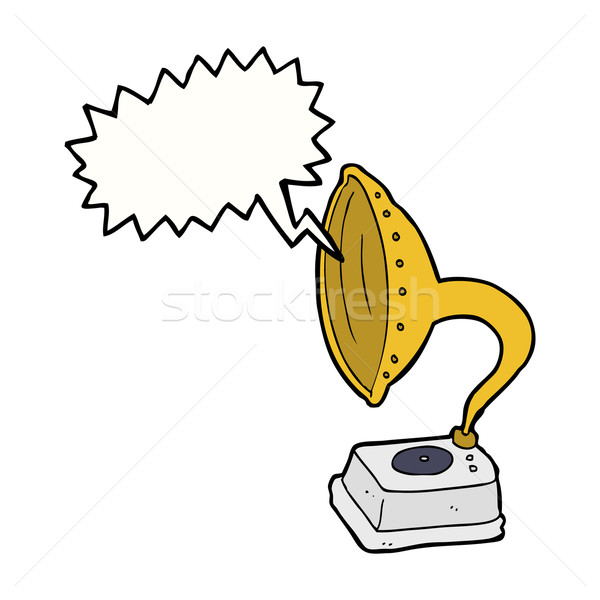 cartoon phonograph with speech bubble Stock photo © lineartestpilot