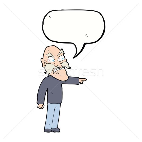 Rajz dühös idős férfi szövegbuborék kéz férfi Stock fotó © lineartestpilot