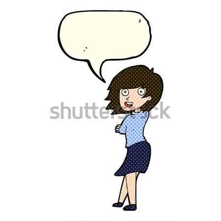 Fumetto cartoon intelligente ragazza retro Foto d'archivio © lineartestpilot