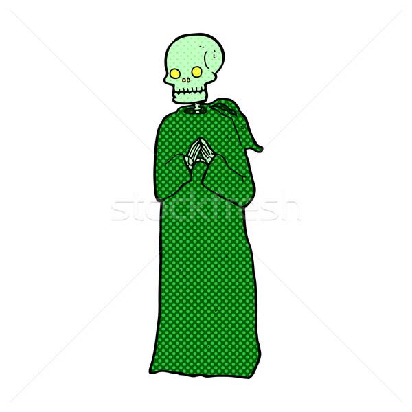 Cômico desenho animado esqueleto preto robe retro Foto stock © lineartestpilot