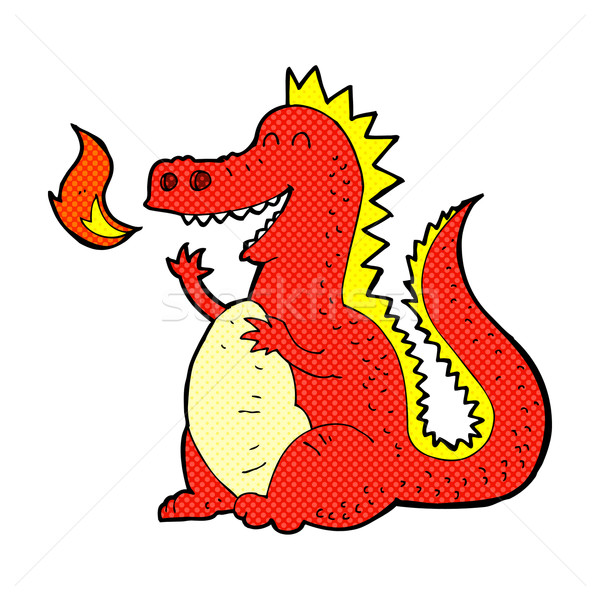 комического Cartoon огня дыхание дракон ретро Сток-фото © lineartestpilot