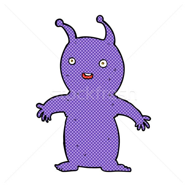 Cômico desenho animado feliz pequeno alienígena retro Foto stock © lineartestpilot