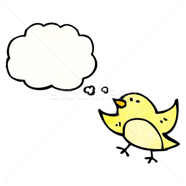 Stock fotó: Rajz · madár · gondolatbuborék · felirat · beszél · retro