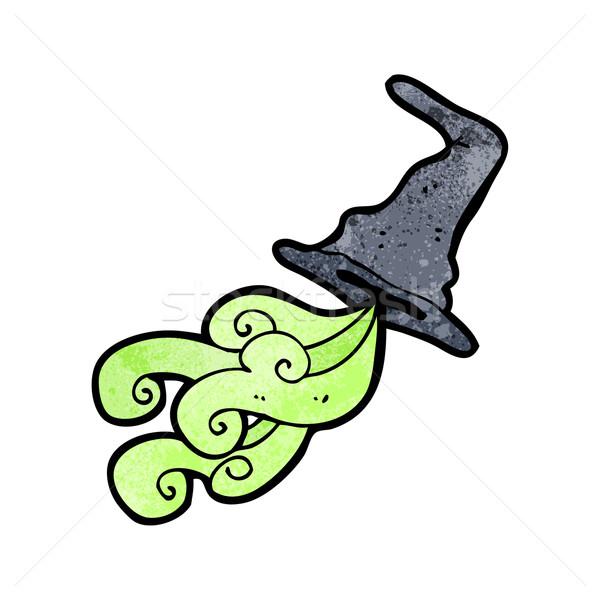 Kapelusz czarownicy cartoon retro rysunek magic witch Zdjęcia stock © lineartestpilot