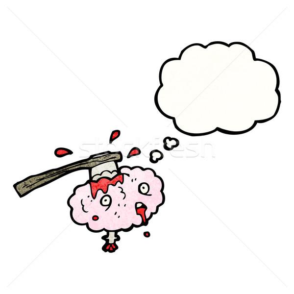 Migräne Karikatur Retro Denken Zeichnung Idee Stock foto © lineartestpilot