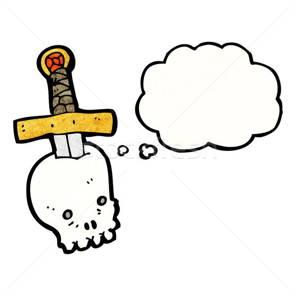 Cartoon череп кинжал ретро шаре рисунок Сток-фото © lineartestpilot
