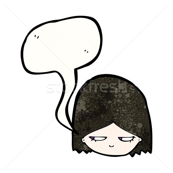 Karikatür goth kız Retro kadın çizim Stok fotoğraf © lineartestpilot