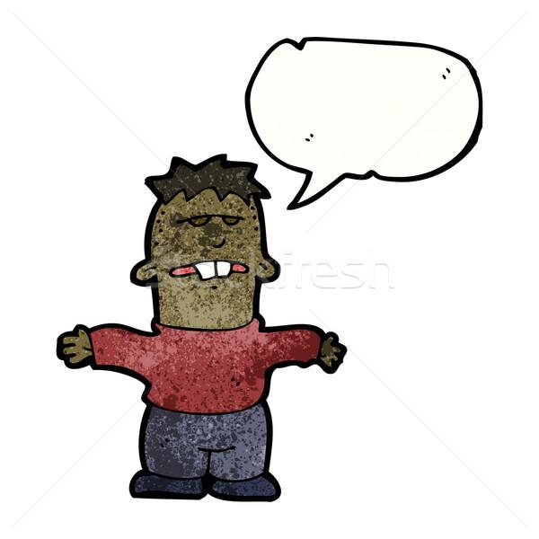 ストックフォト: 漫画 · 少年 · バック · 歯 · 芸術 · レトロな
