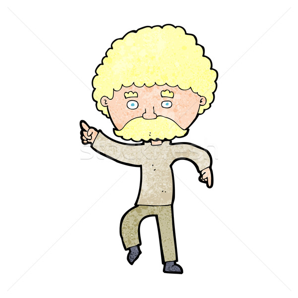 cartoon seventies style man disco dancing Stock photo © lineartestpilot