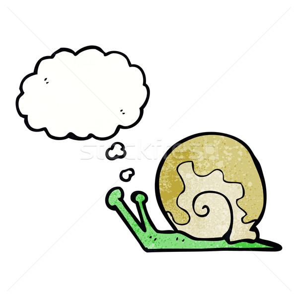 Desen animat melc bule gandire mână proiect artă Imagine de stoc © lineartestpilot