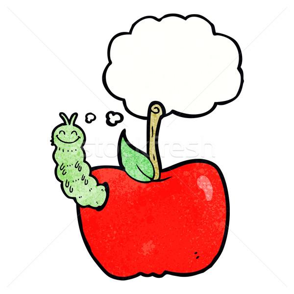Desenho animado maçã bicho balão de pensamento mão projeto Foto stock © lineartestpilot