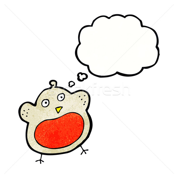 funny cartoon christmas robin with thought bubble Stock photo © lineartestpilot
