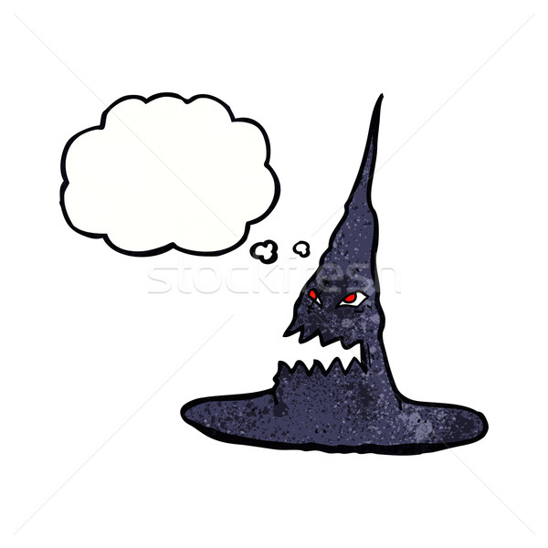 cartoon spooky witches hat with thought bubble Stock photo © lineartestpilot