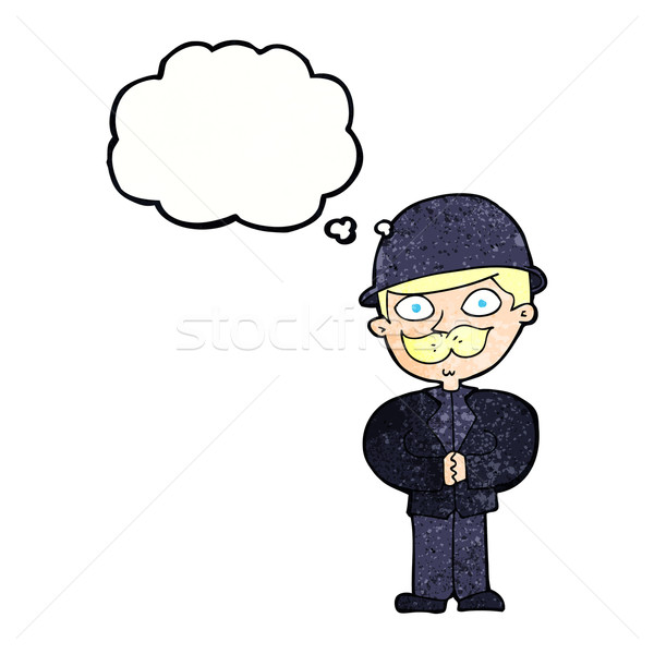 Desenho animado homem balão de pensamento mão projeto Foto stock © lineartestpilot