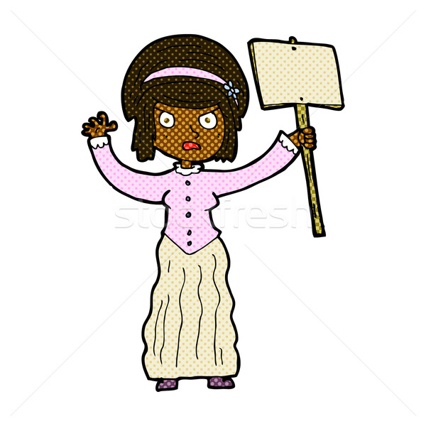 Stock photo: comic cartoon vicorian woman protesting