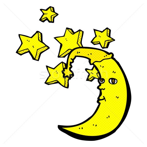 Uykulu ay komik karikatür Retro Stok fotoğraf © lineartestpilot