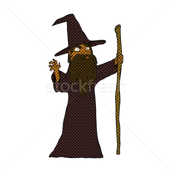 comic cartoon spooky wizard Stock photo © lineartestpilot