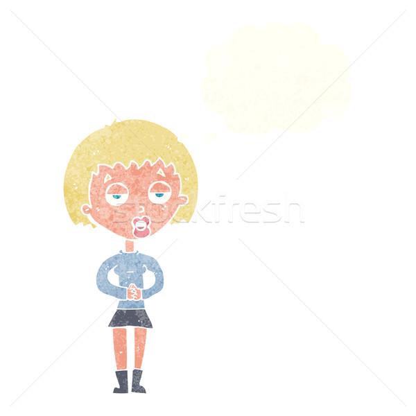 Cartoon vervelen vrouw wachten gedachte bel hand Stockfoto © lineartestpilot