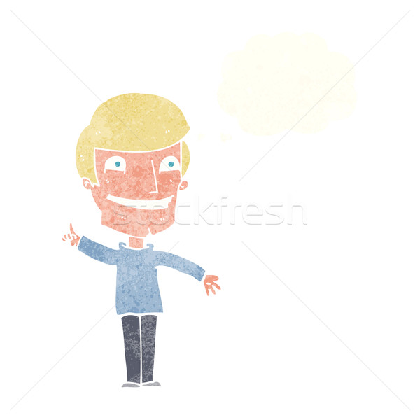 Karikatur grinsend Mann Idee Gedankenblase Hand Stock foto © lineartestpilot