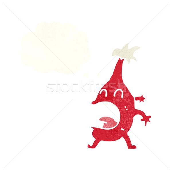 Rajz vicces karácsony lény gondolatbuborék kéz Stock fotó © lineartestpilot