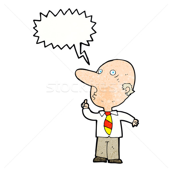 cartoon bald man asking question with speech bubble Stock photo © lineartestpilot