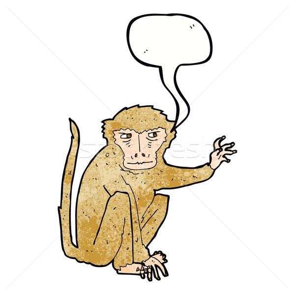 Cartoon kwaad aap tekstballon hand ontwerp Stockfoto © lineartestpilot