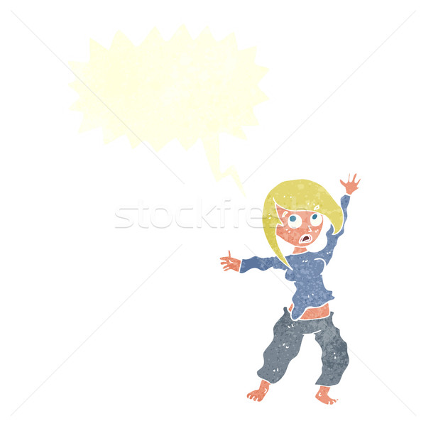 cartoon frightened woman with speech bubble Stock photo © lineartestpilot
