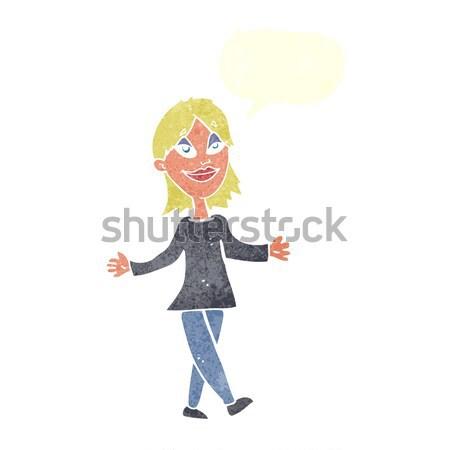 Rajz nő semmi gond szövegbuborék kéz terv Stock fotó © lineartestpilot