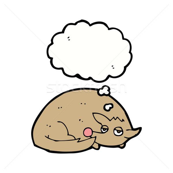 Desenho animado enrolado cão balão de pensamento mão projeto Foto stock © lineartestpilot