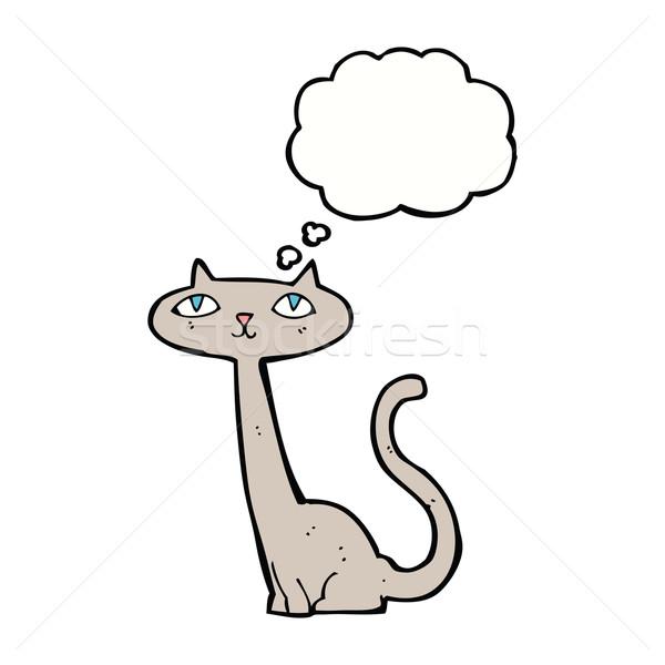 Desenho animado gato balão de pensamento mão projeto louco Foto stock © lineartestpilot