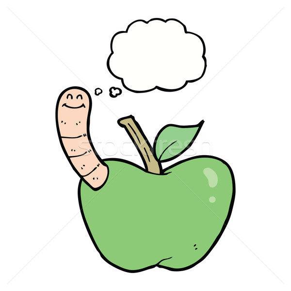 cartoon apple with worm with thought bubble Stock photo © lineartestpilot