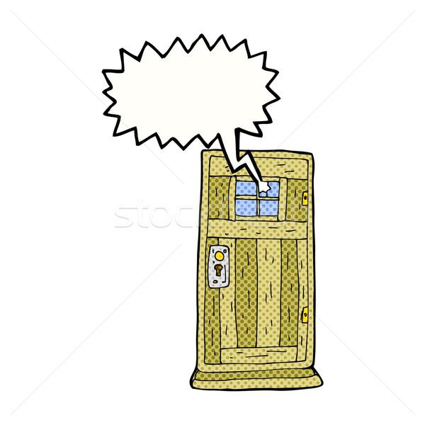 cartoon old wood door with speech bubble Stock photo © lineartestpilot