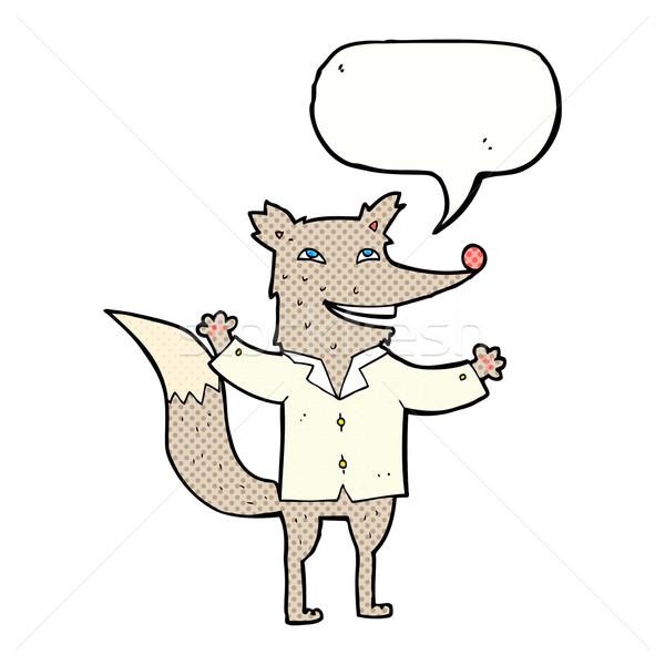 Karikatür mutlu kurt gömlek konuşma balonu Stok fotoğraf © lineartestpilot