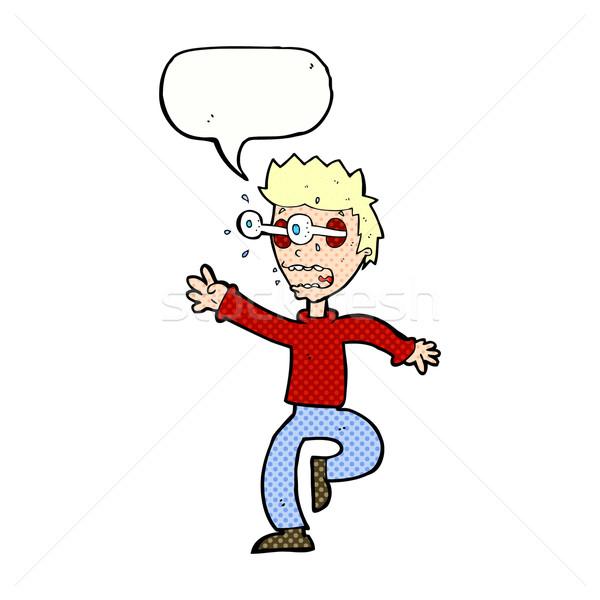 Cartoon испуганный человека глазах из речи пузырь Сток-фото © lineartestpilot