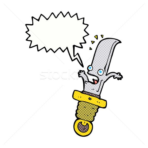 Cartoon przestraszony nóż dymka strony projektu Zdjęcia stock © lineartestpilot