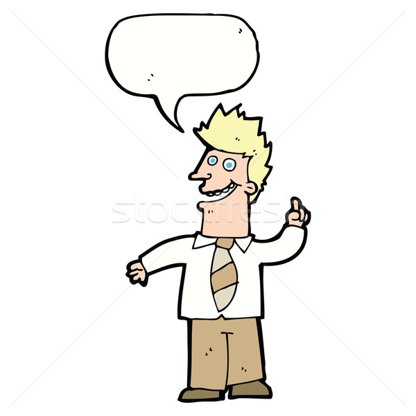 cartoon man with good idea with speech bubble Stock photo © lineartestpilot