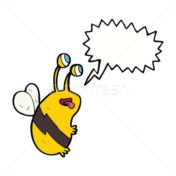 cartoon funny bee with speech bubble Stock photo © lineartestpilot