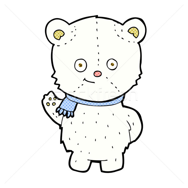 cute comic cartoon polar bear waving Stock photo © lineartestpilot