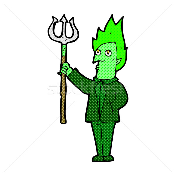 comic cartoon devil with pitchfork Stock photo © lineartestpilot