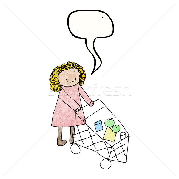 child's drawing of a woman shopping Stock photo © lineartestpilot