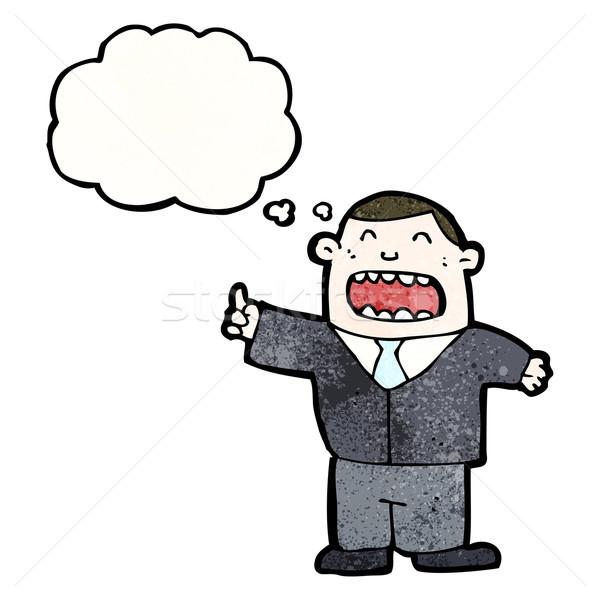 Сток-фото: Cartoon · бизнесмен · мысли · пузырь · ретро · текстуры · изолированный